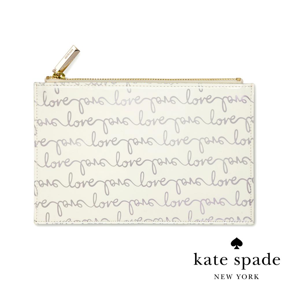 Kate Spade 簡約手繪風筆袋/化妝包/收納袋 Love Script (附贈精美文具禮組)