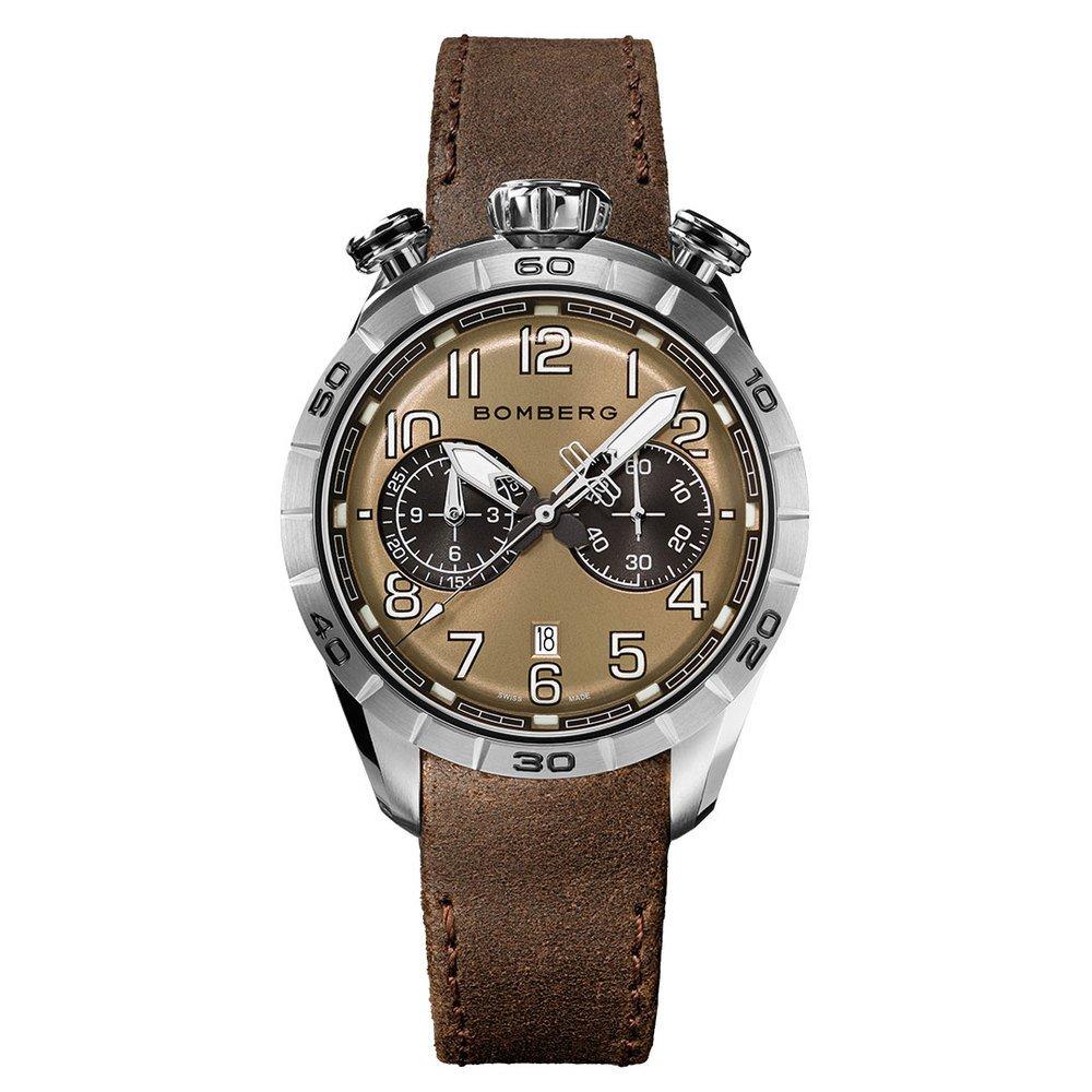 BOMBERG【炸彈錶】BB-68系列 全鋼咖啡色面計時碼錶 | 錶徑44mm | BS45CHSP.059-3.10