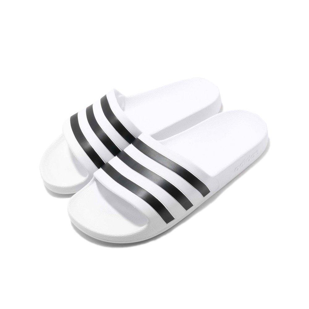 ADIDAS 拖鞋 Adilette Aqua 男女鞋 愛迪達 休閒 輕量 沙灘鞋 情侶款 白 黑 [F35539]