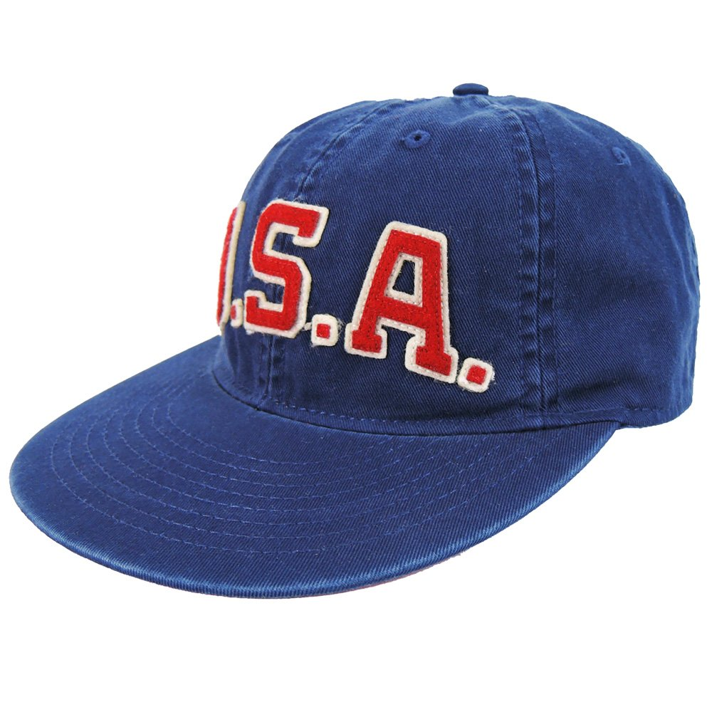 RALPH LAUREN字母USA棒球帽-深藍