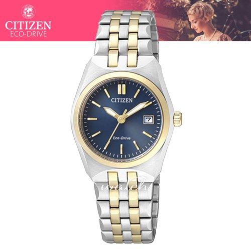 CITIZEN 星辰 氣質首選_光動能_不鏽鋼錶帶_日期顯示_防水_指針女錶(EW2294-61L)