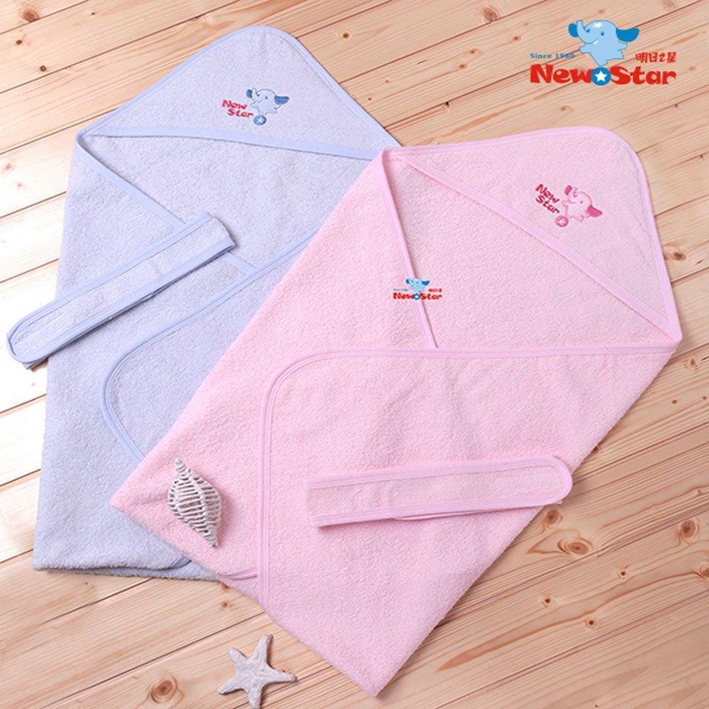 Newstar明日之星 人氣推薦~2用新生兒包巾-純棉毛巾布-藍粉紅