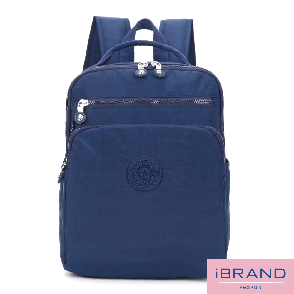 iBrand後背包 輕盈防潑水素色雙拉鍊尼龍後背包-寶藍色 8612-BL