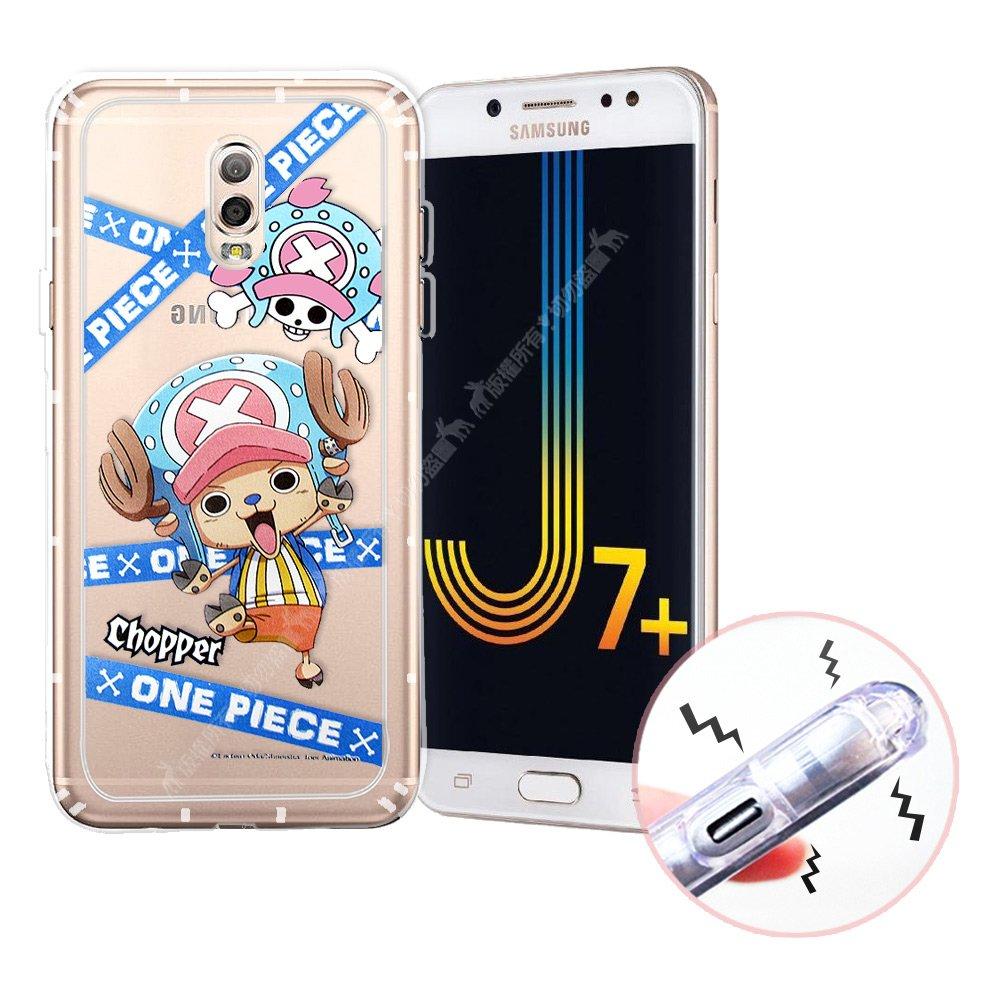 東映授權正版 航海王 Samsung Galaxy J7+/J7 Plus 透明軟式空壓殼(封鎖喬巴)