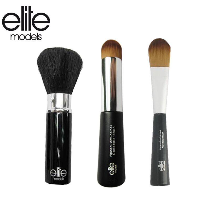 olina法國elite 精選化妝刷具組-3件組(美妍修容刷+粉底刷+專業遮瑕刷)