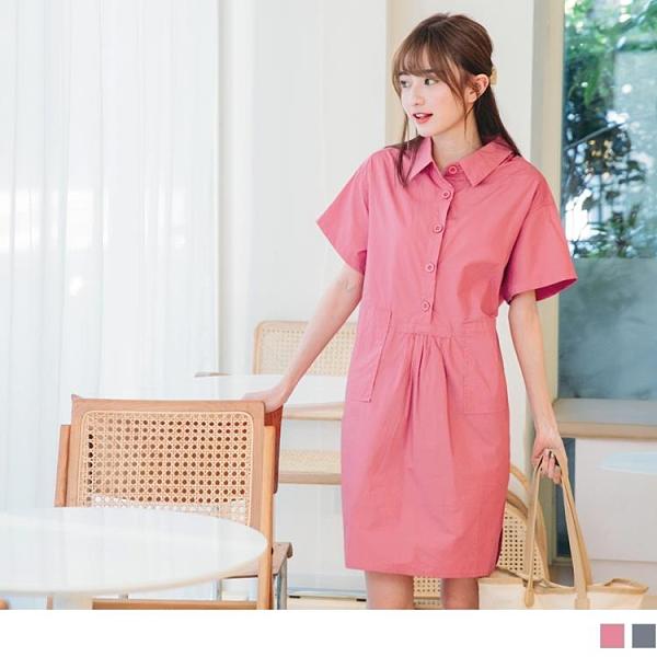 《DA7836》輕甜男友風襯衫領高含棉寬版大口袋洋裝 OrangeBear
