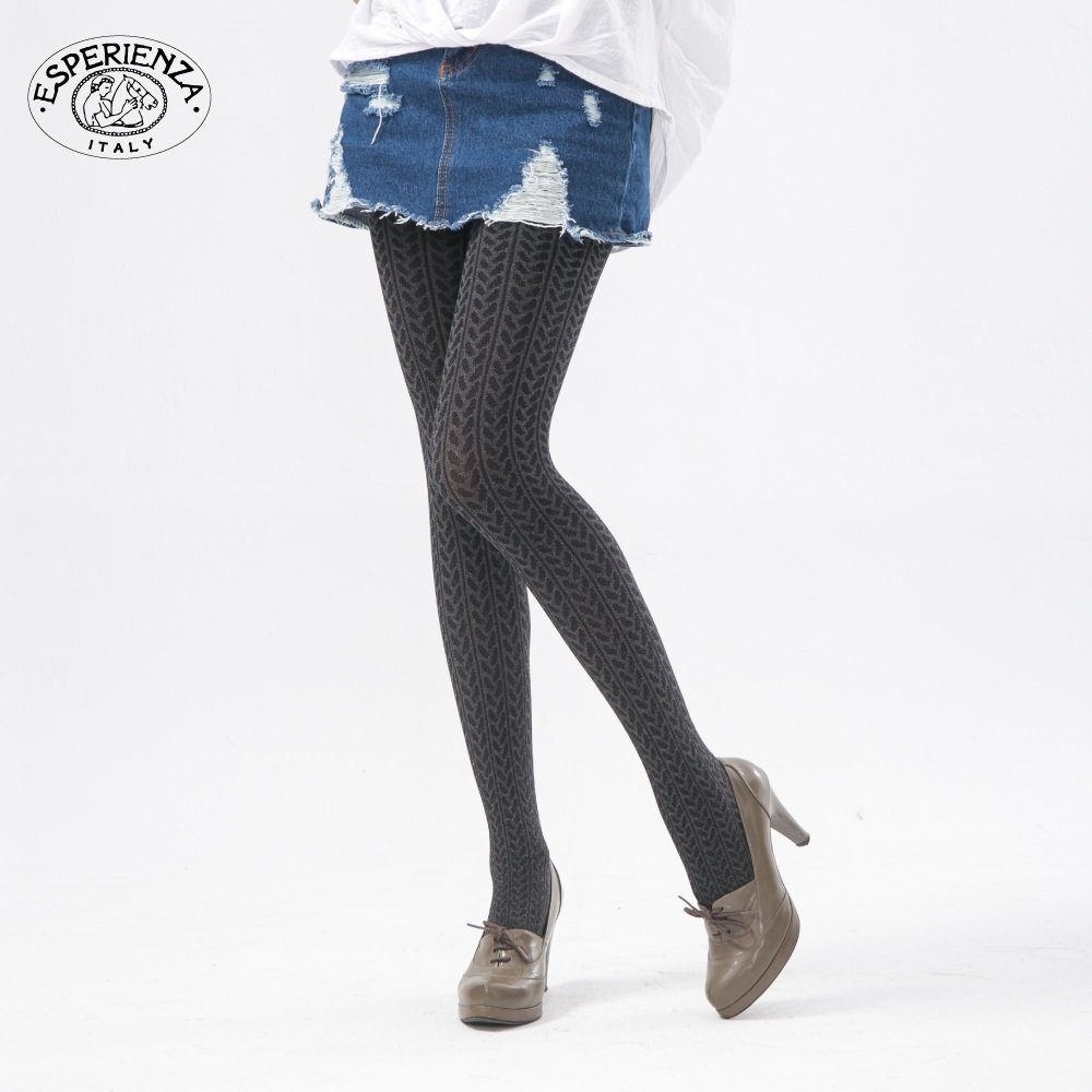 ESPERIENZA 150丹 立體印花絲襪-螺紋