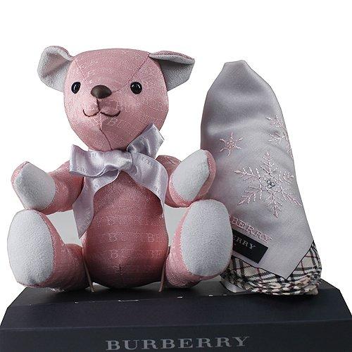 【BURBERRY】經典圖紋小熊帕巾禮盒-藕粉色