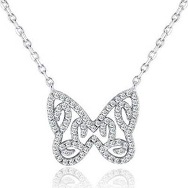925純銀項鍊 蝴蝶吊墜-鑲鑽百搭精美大方女配件73v144米蘭精品