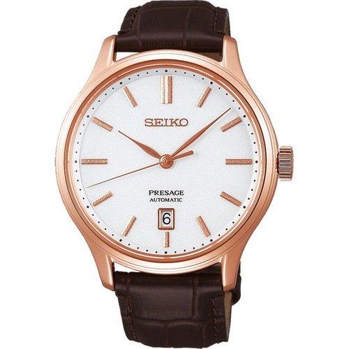 【SEIKO】精工 Presage 典雅氣質機械錶 SRPD42J1@4R35-03P0K 皮帶 玫瑰金 41mm