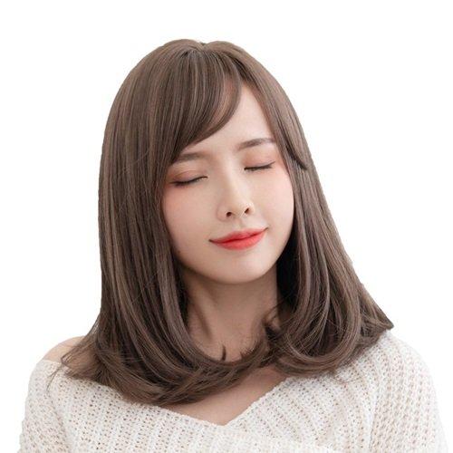 【米蘭精品】中長假髮整頂假髮-斜瀏海微彎齊肩鎖骨髮女假髮2色73vs43
