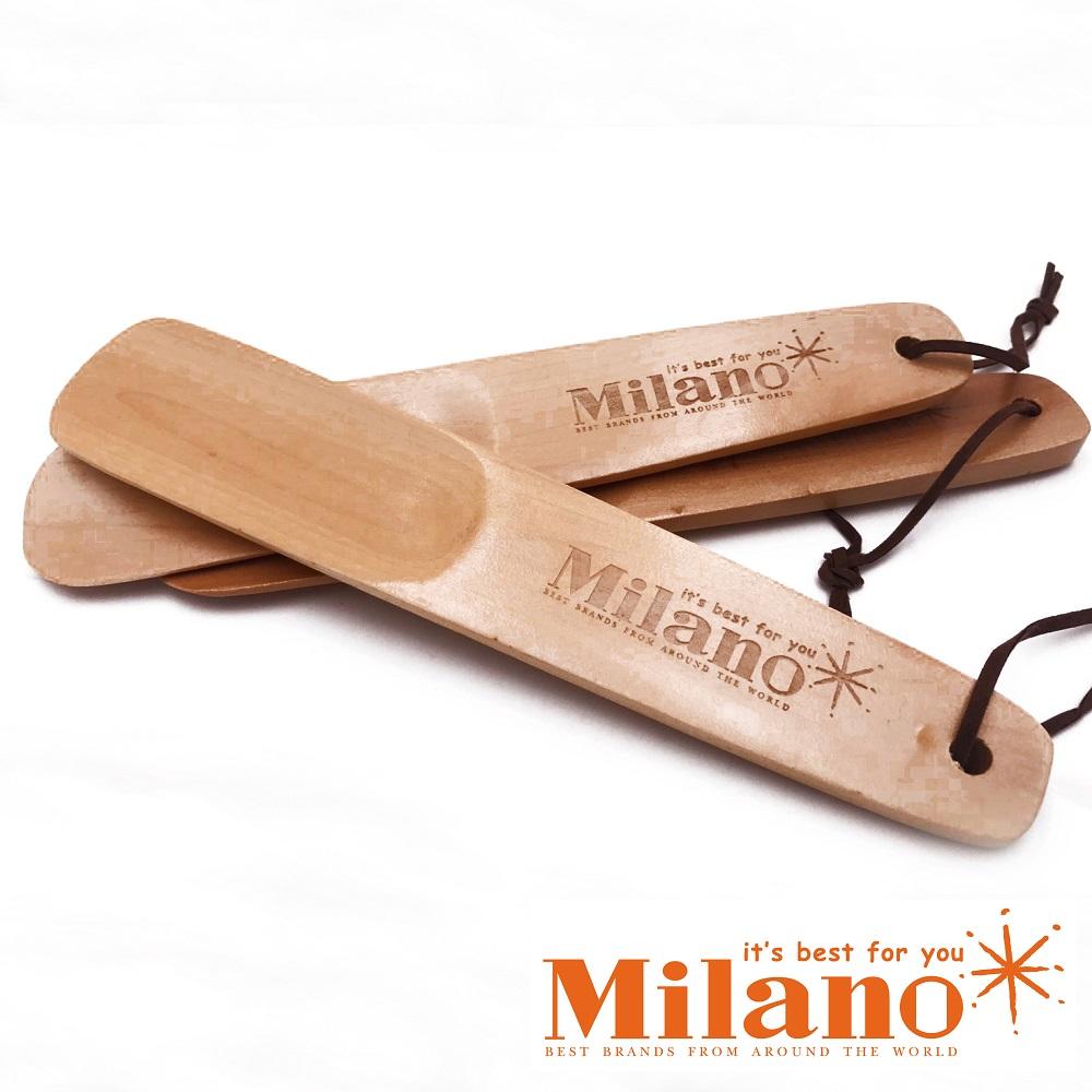 Milano 經典LOGO質感刻紋木製鞋拔