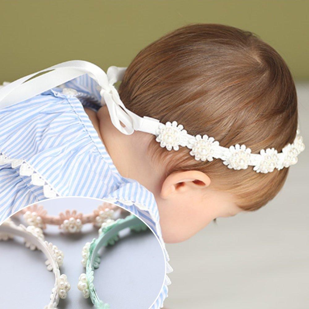 UNICO 兒童清新甜美珠珠花朵造型後綁帶髮箍
