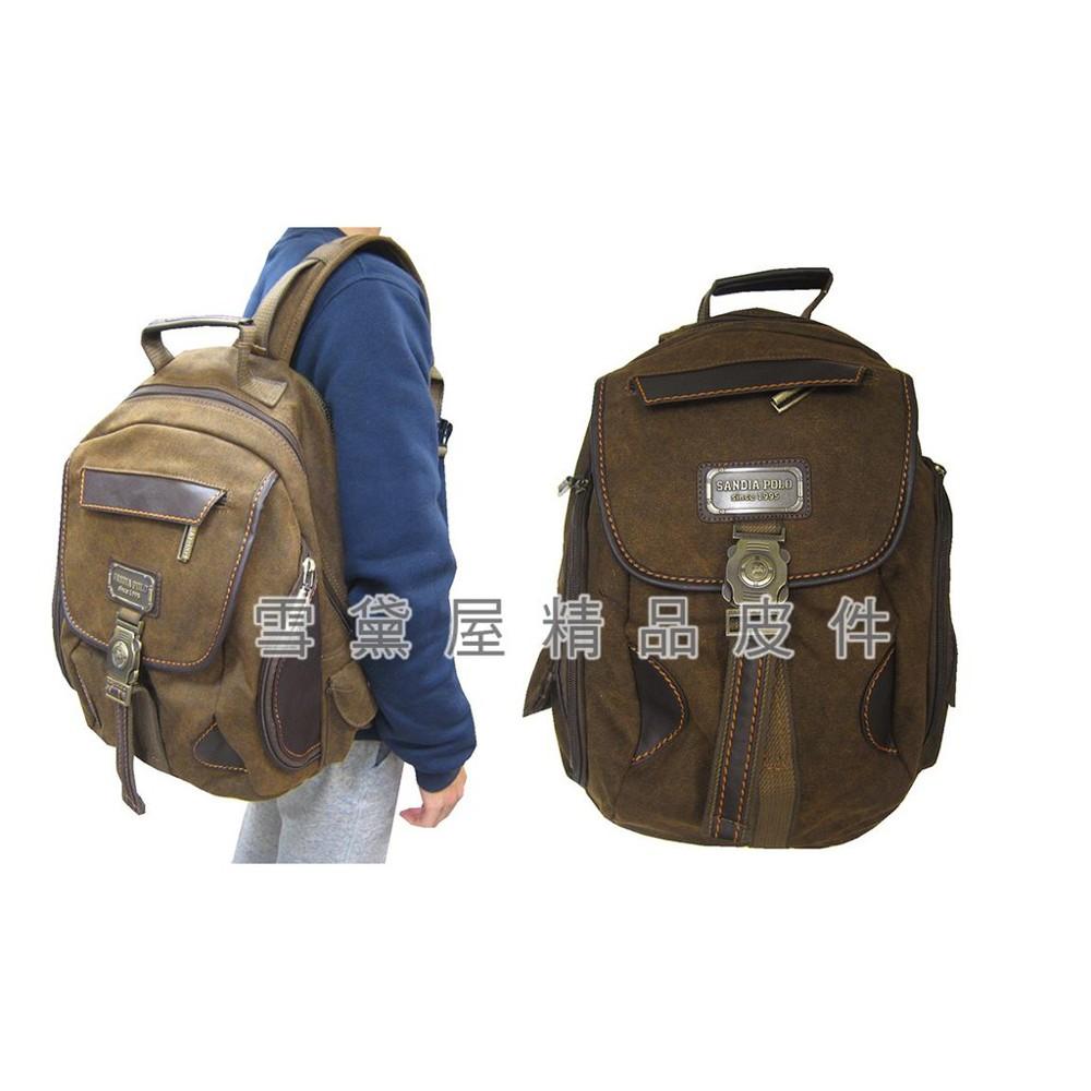 ~雪黛屋~sandia-polo 後背包中容量可a4資夾上學上班休閒個性款防水帆布+皮革材質bdn1