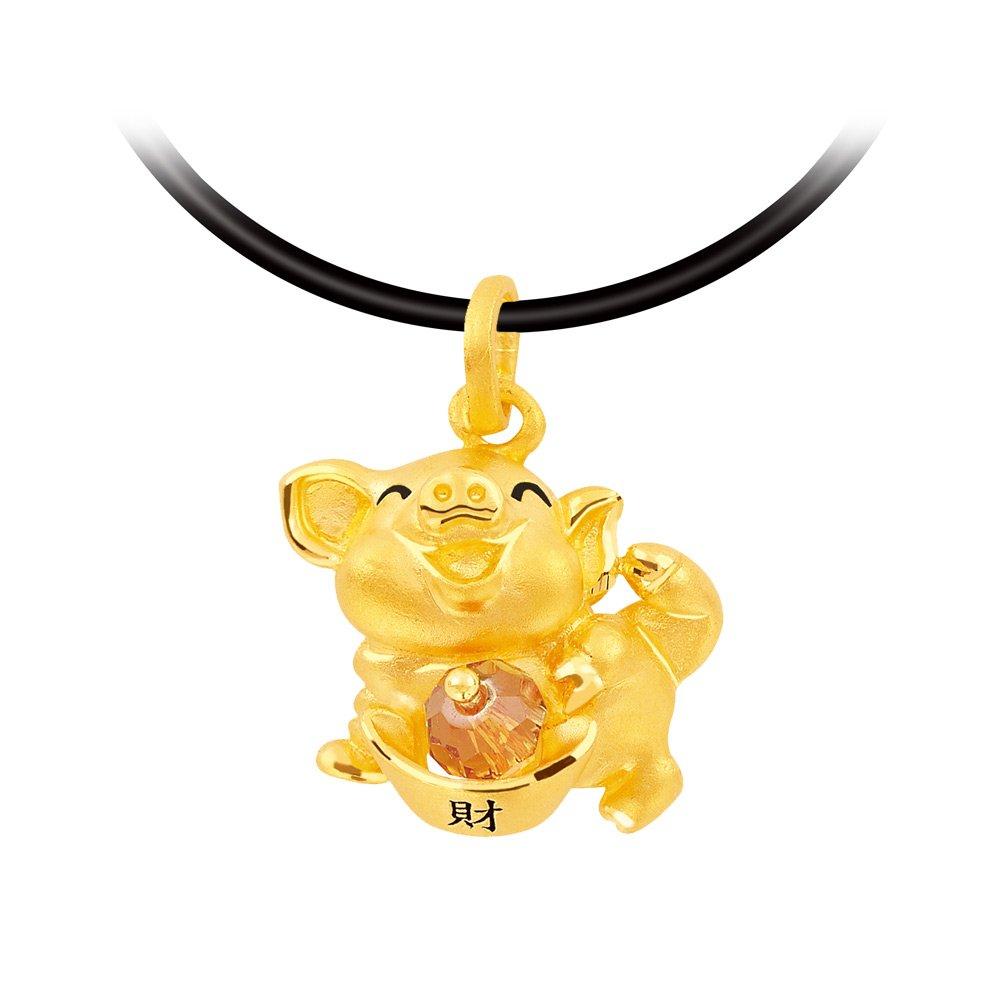 幸運草金飾-財滿滿豬-黃金墜子
