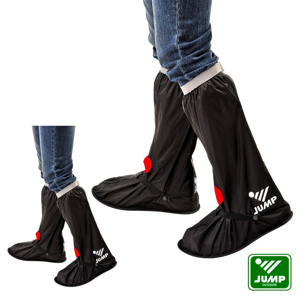 【JUMP】尼龍安全反光鞋套L001_黑紅(M~3XL)
