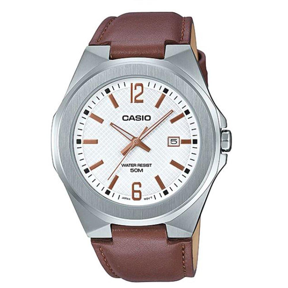 【CASIO卡西歐】現代都會男子成熟風格皮帶腕錶- 白 (MTP-E158L-7A)