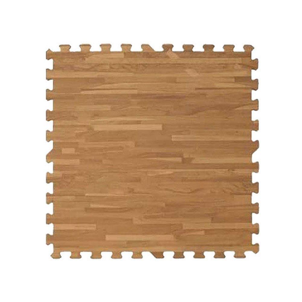 【新生活家】EVA耐磨拼花木紋地墊-深色62x62x1.4cm12入