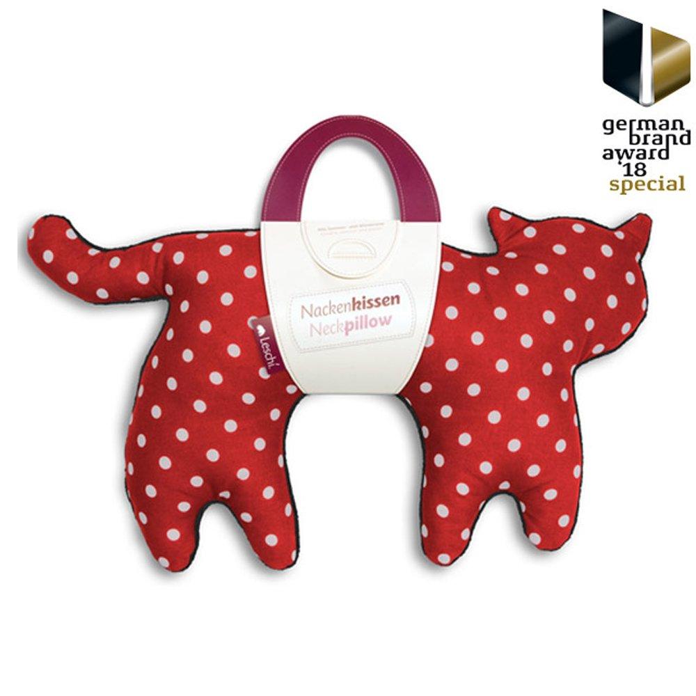 德國萊思綺 Leschi 旅行枕頭/辦公室、教室午休枕頭- 貓造型 (紅底白點)