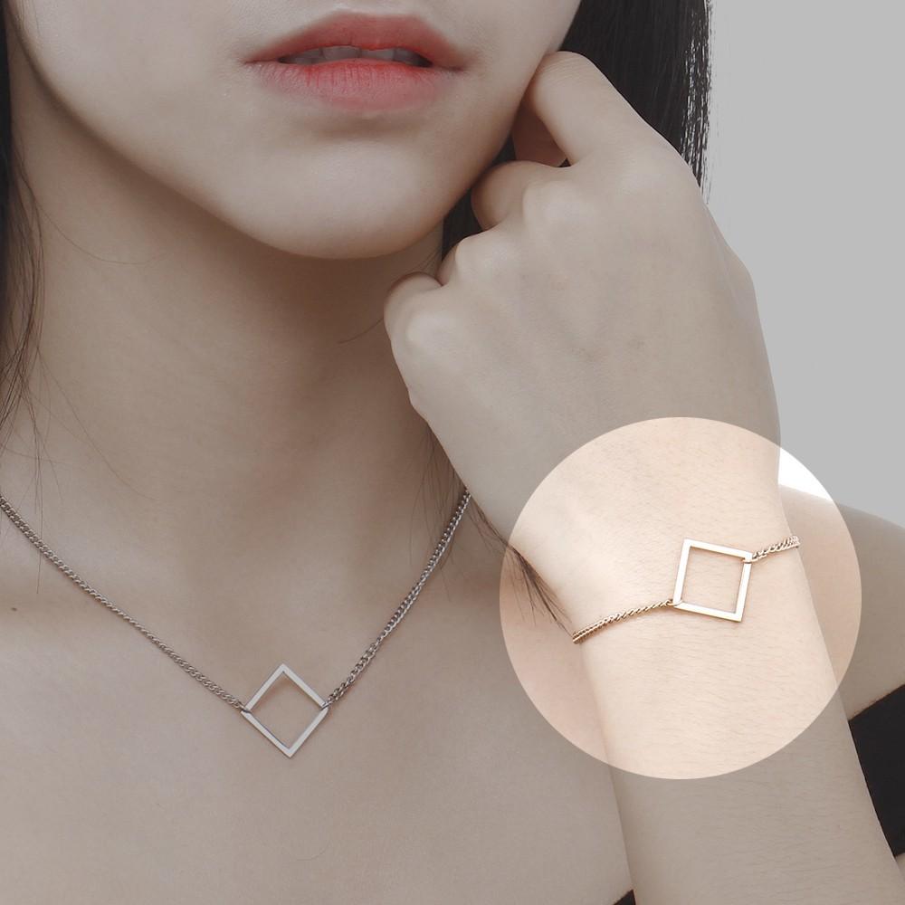 正方形幾何圖形白鋼手鍊-ajs104
