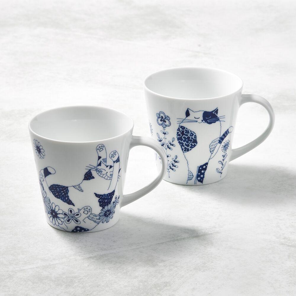 日本澤藍美濃燒 - 花園藍貓馬克杯-禮盒組(2件式)