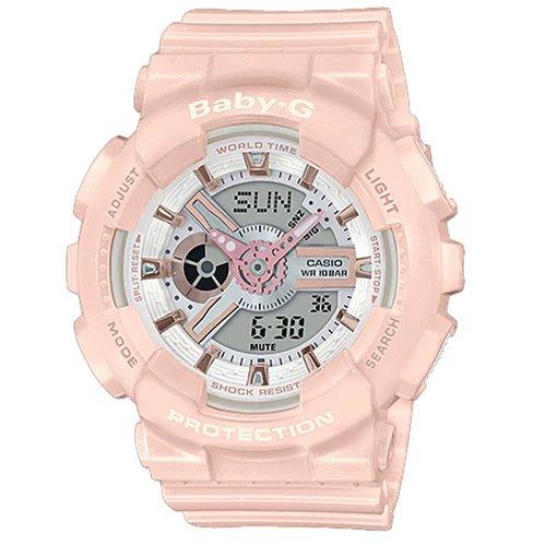 【CASIO 卡西歐】BABY-G 酷炫雙顯女錶 橡膠錶帶 防水100米 BA-110RG-4A