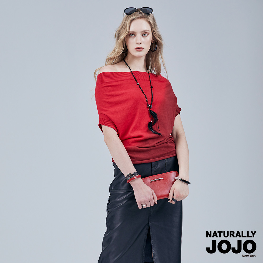 【NATURALLY JOJO】 漸層一字領薄線衫 (紅/灰2色)
