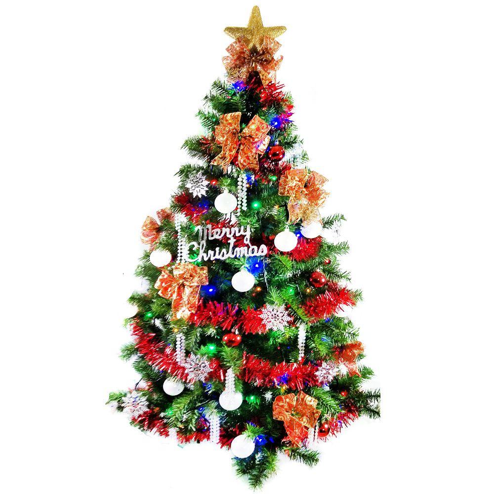 台灣製6尺(180cm)豪華版綠聖誕樹+白五彩蝴蝶結系飾品組(不含燈)