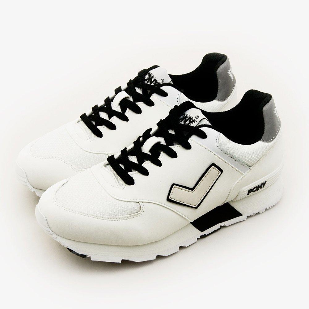 PONY繽紛韓風復古慢跑鞋SOLA-T閃耀反光系列白黑51M1SO80SW男