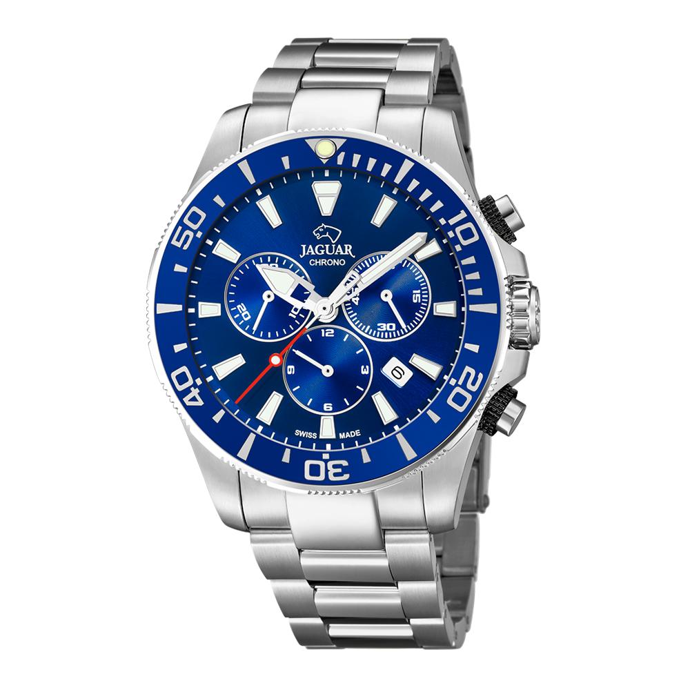 瑞士JAGUAR | 經典銀款計時錶Executive (藍面) - J861/2