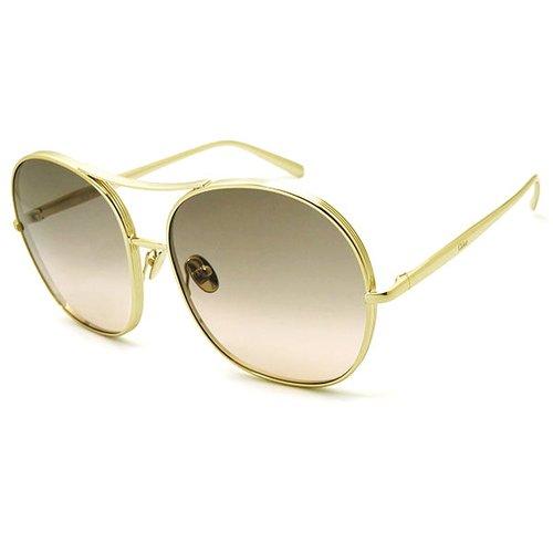 【CHLOE】太陽眼鏡墨鏡 CE128S 767 61mm 法國時尚 圓框墨鏡 漸層灰 金框 Chloé