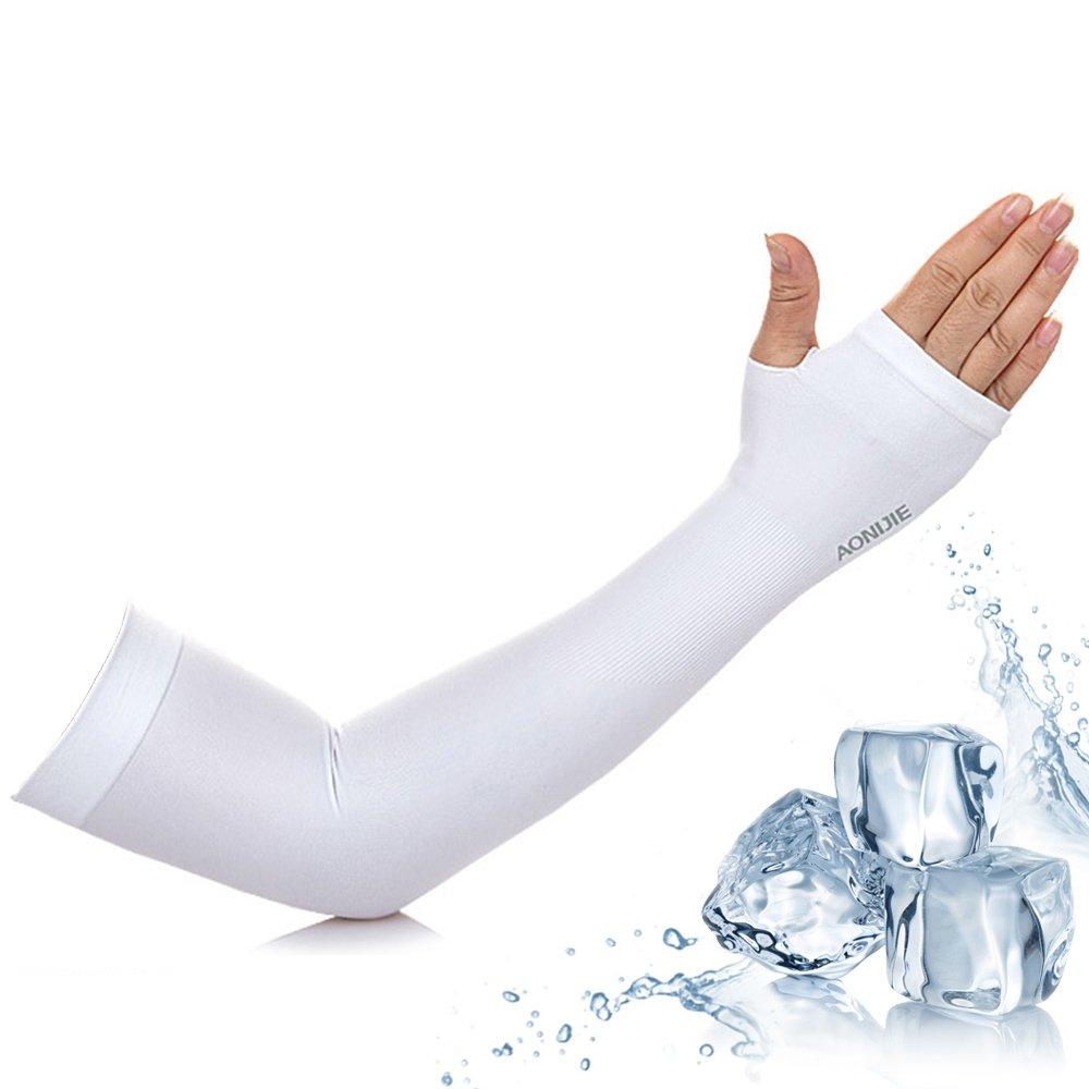 【活力揚邑】指孔涼感萊卡袖套防曬UPF50抗UV吸濕排汗自行車路跑登山臂套-溫和白