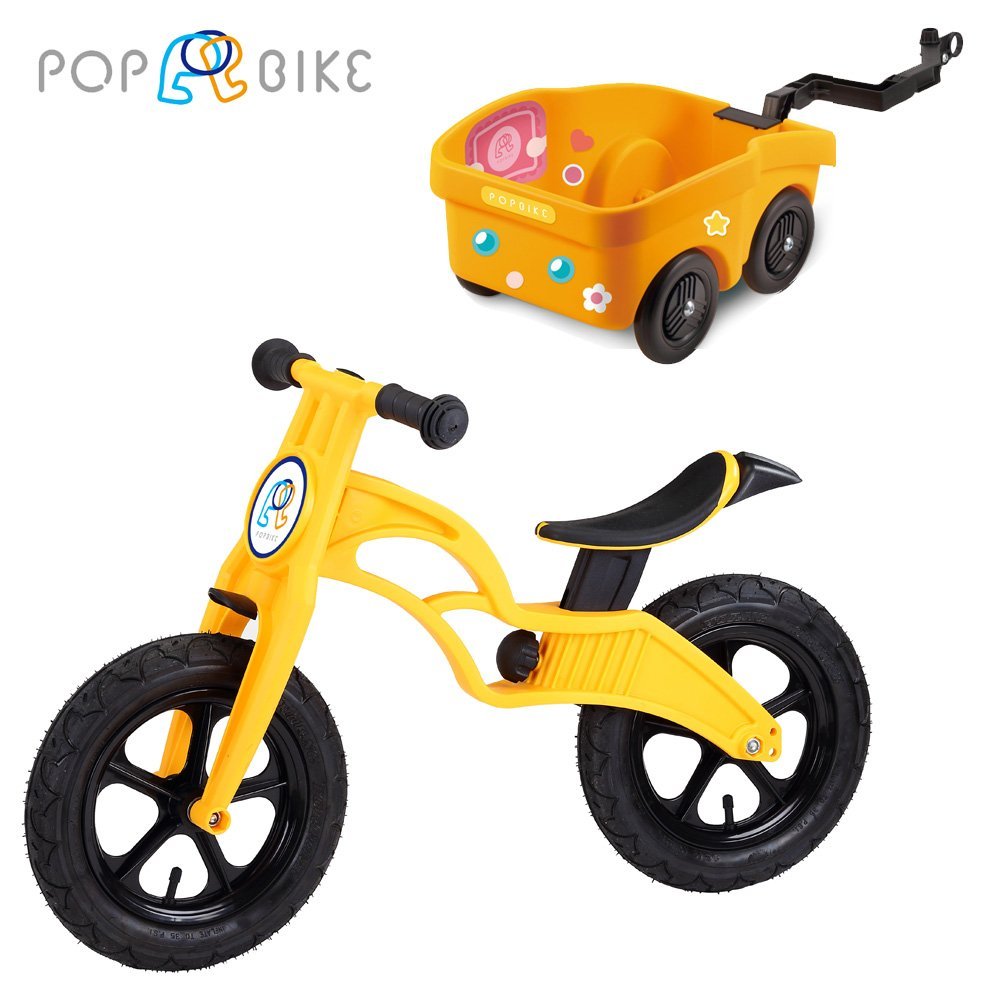 【POPBIKE】兒童平衡滑步車 - AIR充氣胎 + 拖車組(黃)