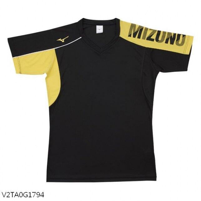 【領券最高折$400】MIZUNO 男裝 女裝 短袖 排球 羽球 吸汗快乾 合身版型 黑黃【運動世界】V2TA0G1794
