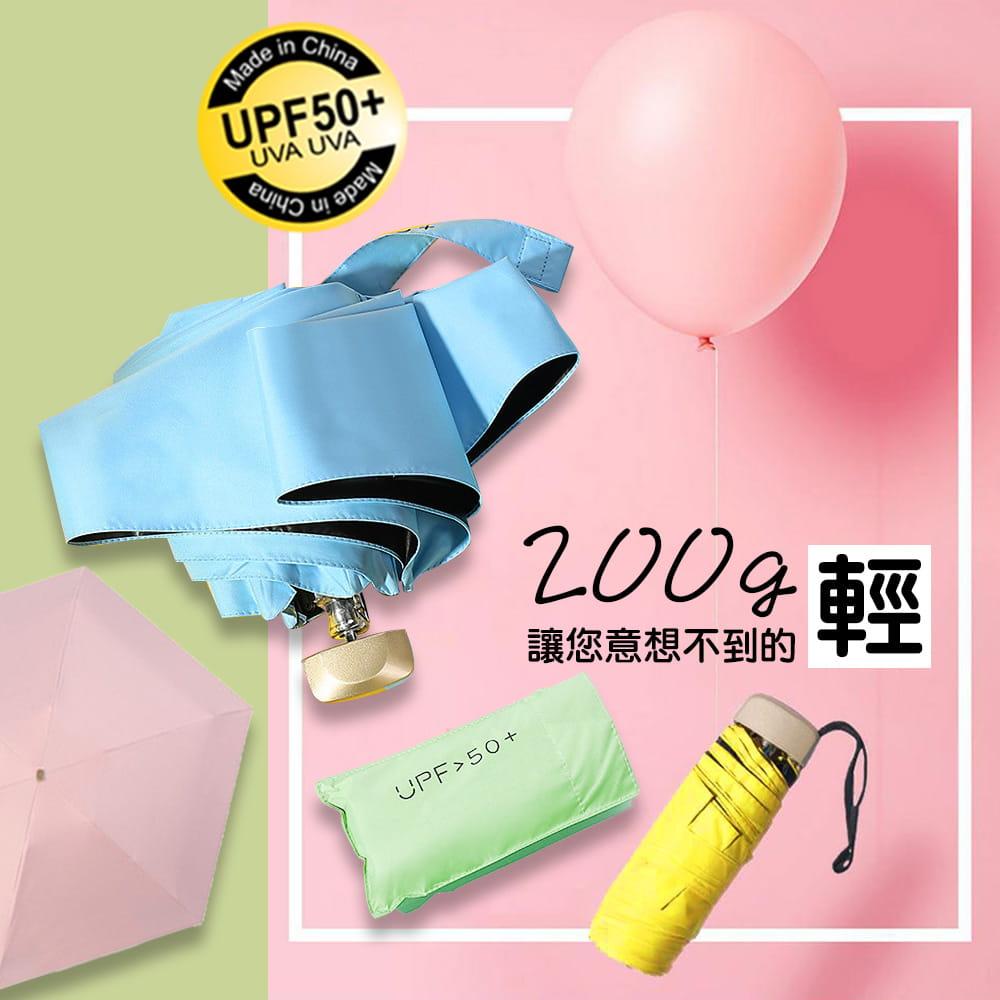 【QI 藻土屋】熱銷質感抗UV摺疊超輕巧戶外隨身傘(黑膠/防曬/安全/降溫黑膠8骨傘 )