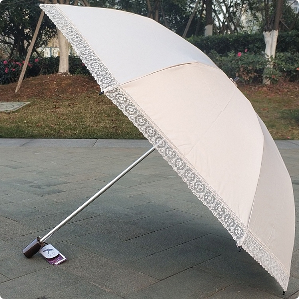 宏達二折碳纖維超輕蕾絲純色米色粉色防紫外線太陽傘晴雨傘洋傘