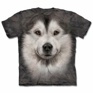 『摩達客』(預購)(大尺碼3XL) 美國進口【The Mountain】自然純棉系列 哈士奇雪橇犬臉 T恤
