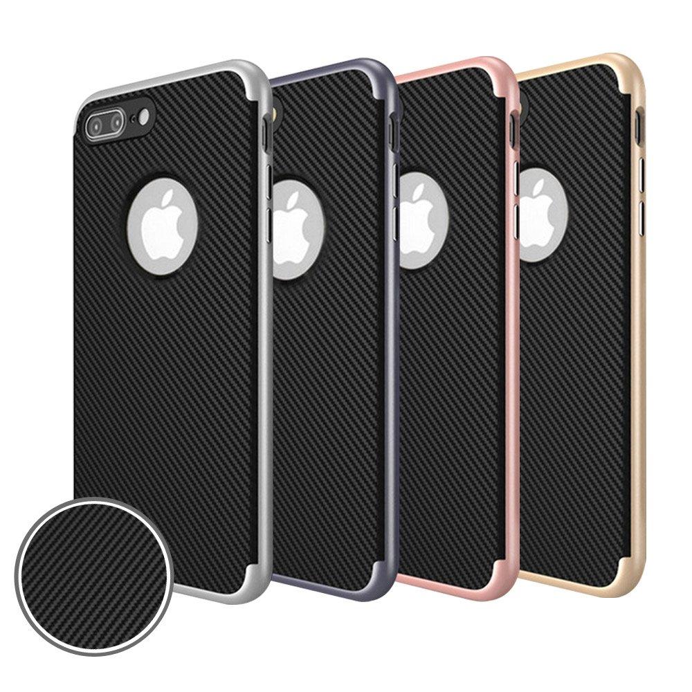 水漾 iPhone8 Plus (5.5)碳纖維紋電鍍雙層手機軟殼