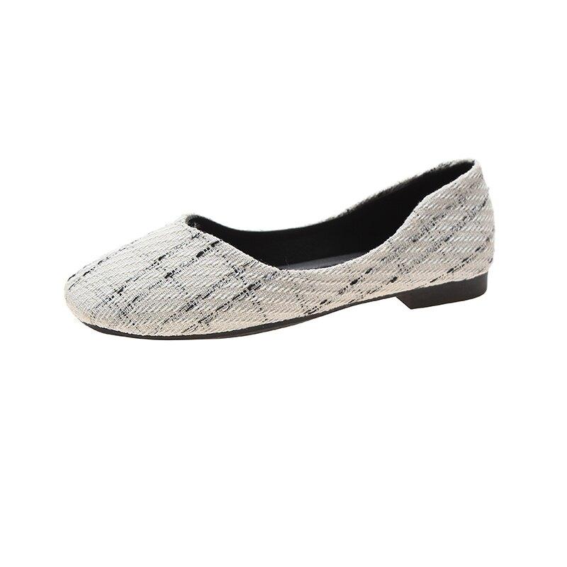單鞋女平底2020春季淑女豆豆春款方頭復古春秋淺口格子布潮奶奶鞋