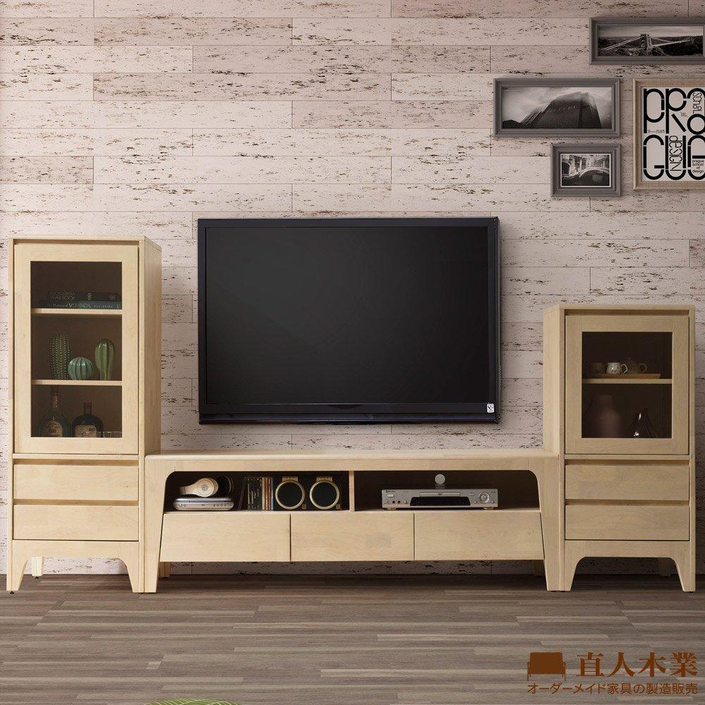 【日本直人木業】STAY全實木洗白色152CM電視櫃搭配100CM高低展示櫃