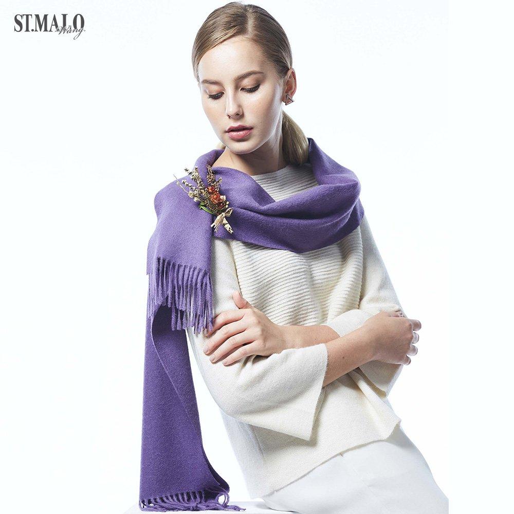 【ST.MALO】皇室精品素色羊駝圍巾-1836WS-伯爵紫