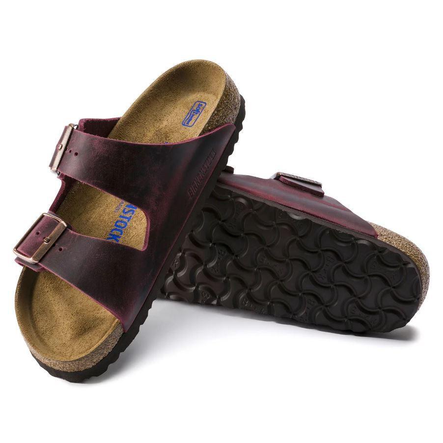 羅東勃肯 BIRKENSTOCK ARIZONA亞利桑那 經典二條拖鞋 復古酒紅軟墊 1014264