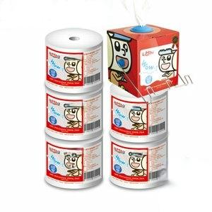 【Leshi樂適】嬰兒乾濕兩用布巾/護理巾-抽取式盒1入+補充卷5入+不鏽鋼掛勾1支(600pcs)