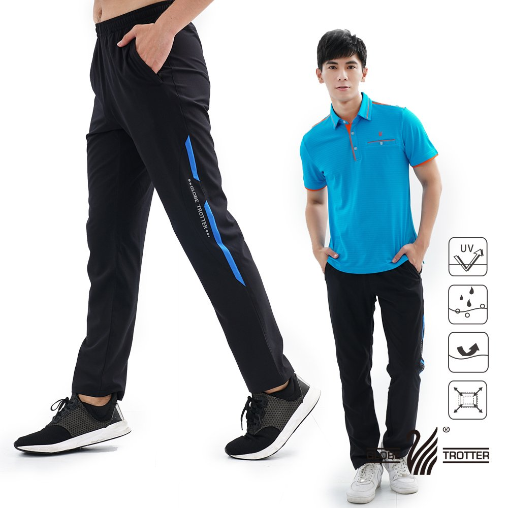 【遊遍天下】中性款防風防潑水速乾反光運動長褲GP10006黑藍