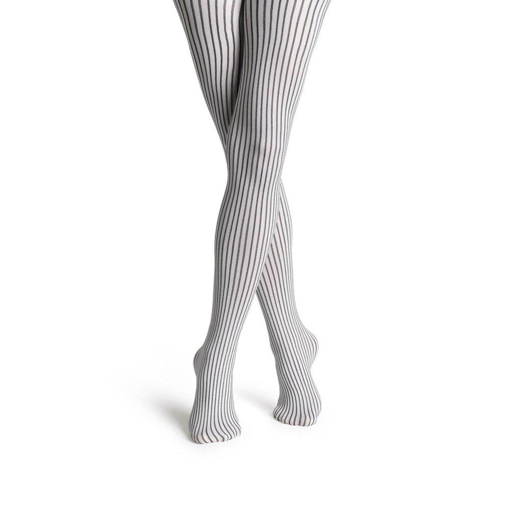 『摩達客』瑞典進口【Happy Socks】黑白細直紋彈性褲襪
