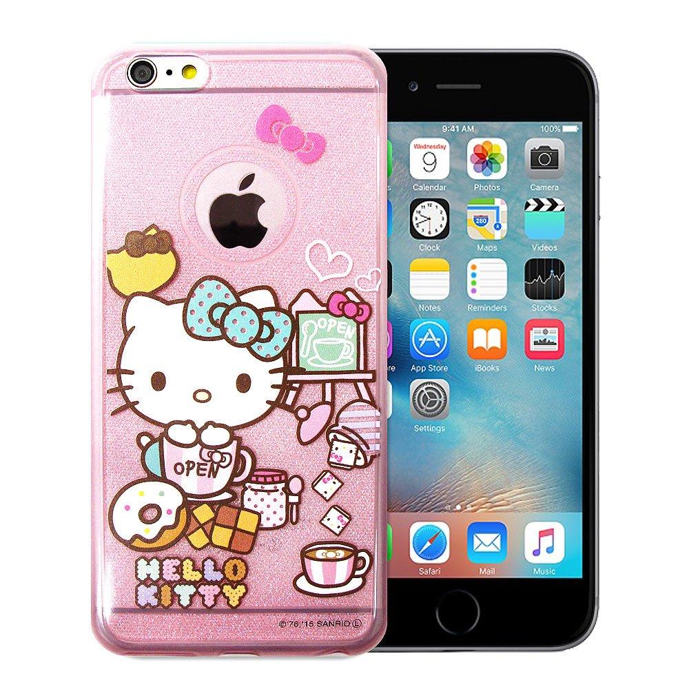 三麗鷗授權正版 Hello Kitty 凱蒂貓 iPhone 6/6s 4.7吋 透明彩繪閃粉軟式手機殼(餅乾)