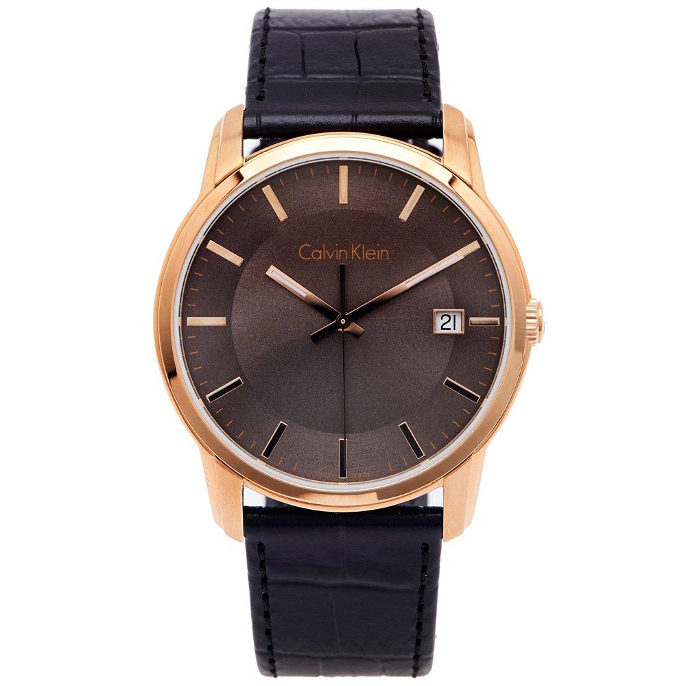 Calvin Klein CK 時尚典藏皮革手錶(K5S316C3)-灰面X黑色/42mm