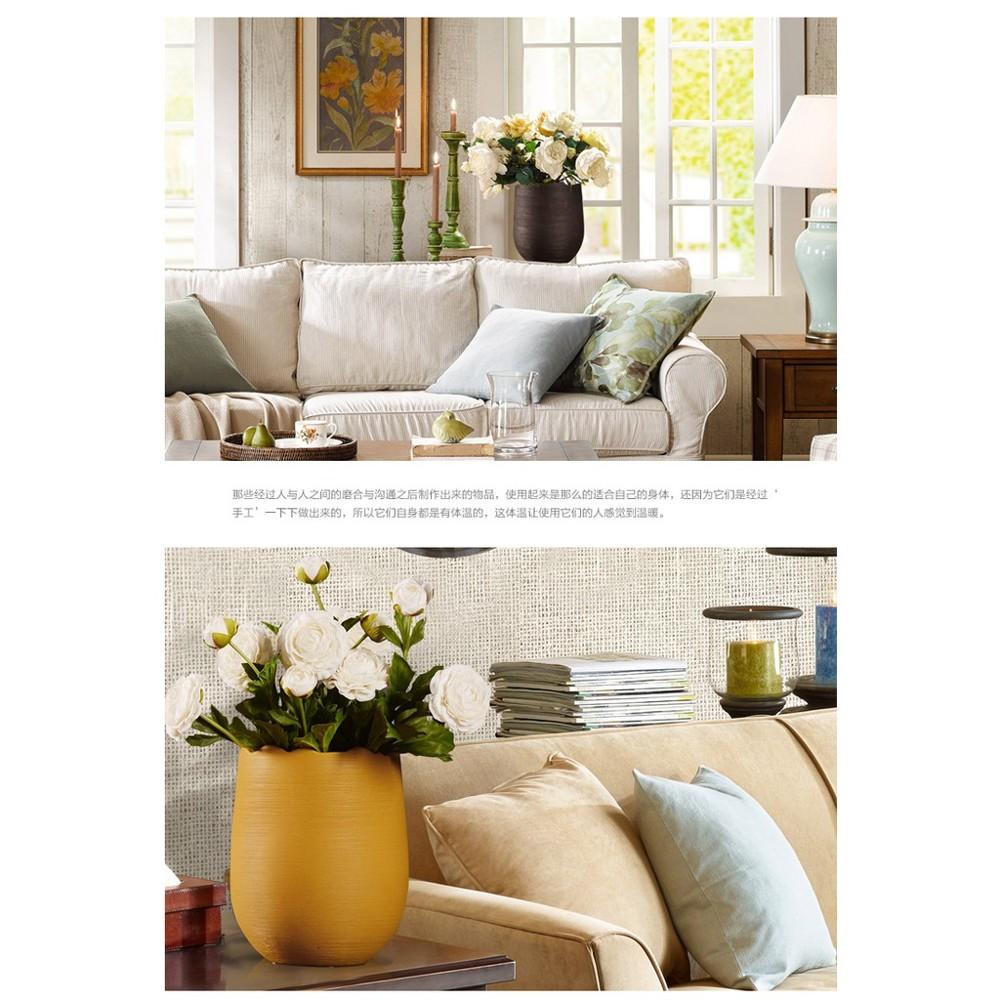 復古簡約創意工藝品家居裝飾品陶瓷廣大口花瓶客廳電視櫃插花擺件 - 半光烏棕大號