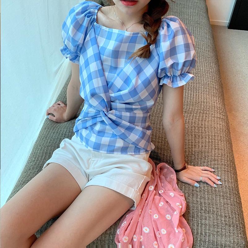 M-4XL大尺碼衣著 女裝女裝新款收腰顯瘦格子方領襯衫設計感上衣