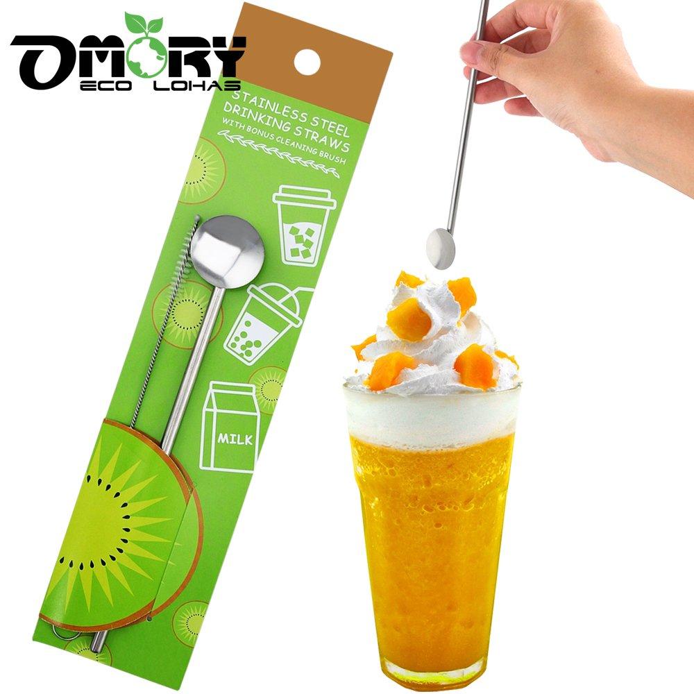 【OMORY】#304不鏽鋼吸管攪拌冰勺1入(贈清潔刷)